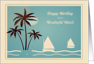 Sailboats and Palm Trees, Birthday for Uncle card
