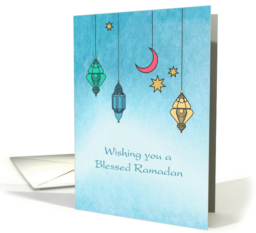 Ramadan Lanterns, Blue Watercolor card (1379856)
