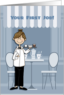 Congratulations, First Job, Food Service, Young Woman card