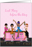 Bachelorette Girl's Night Out, Bar Scene, African American Bride card