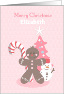 Christmas Gingerbread in Pink, Customize for Girl card