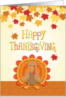 Thanksgiving Turkey with Autumn Leaves card
