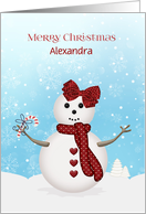 Merry Christmas Snowgirl, Customize Name card
