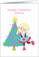 Sweet Girl, Colorful Christmas Tree, Customize card