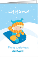 Boy with Sled in Snow, Merry Christmas, Custom Name card