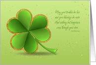 Shamrock with Gold Confetti and Irish Blessing for Saint Patrick's Day card
