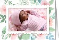 Pastel Watercolor Look Floral Customized Baby Photo Announcement card