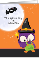 Special Boy Halloween Owl Wizard with Magic Wand with Moon and Bat card