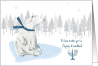 Happy Hanukkah White Polar Bear Winter Scene card