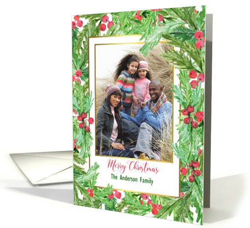 Holly Berry Floral Merry Christmas Personalized Photo card (1457732)