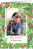 Holly Berry Floral Merry Christmas Personalized Photo Card