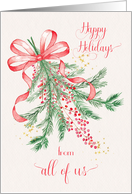 Happy Holidays from All of Us Seasonal Floral card