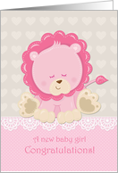 Baby Girl Congratulations Pink Lion card