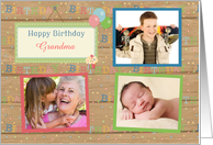 Three Photos Customizable Happy Birthday Grandma card
