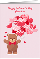 Grandson Valentine's Day with Bear and Heart Balloons card