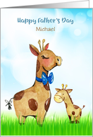 Custom Name Father's Day Giraffes card