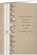 Congratulatons to Son and Wife Rustic Wedding Lace Flowers card