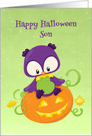 Halloween Owl and Pumpkin for Son card