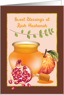 Rosh Hashanah Blessings Honey Apple Pomegranate card
