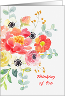 Thinking of You Watercolor Floral card