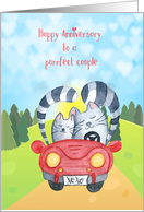 Wedding Anniversary - Loving Cats in Car card