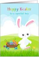 For a Special Boy - Easter Bunny with Wagon card