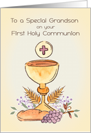 For Grandson First Holy Communion Chalice card