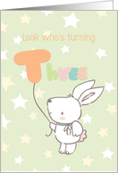 Birthday Turning Three with Rabbit and Balloon card