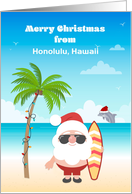 Customized Merry Christmas with Tropical Santa and Surfboard card