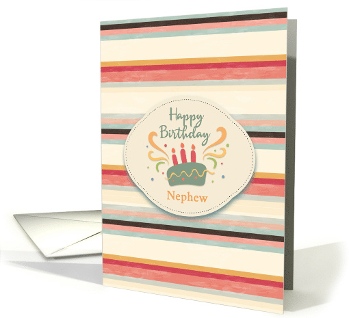 Birthday for Nephew Masculine Stripes with Cake card (1538078)