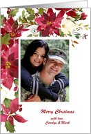 Red Poinsettias Holiday Photo card