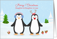 For Daughter & Daughter in Law Christmas Penguins card