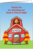 Thank You Back to School Night Autumn Schoolhouse card