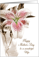 For Wife Mother's Day Pink Stargazer Lily card