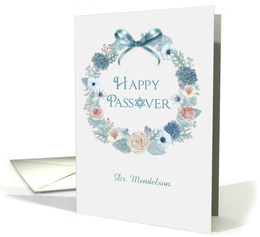 Customize Name Happy Passover Floral Wreath card (1564014)