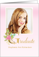 Elegant Graduate in Pink with Floral Letter G Photo card