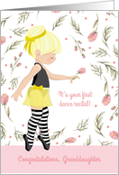 For Granddaughter First Dance Recital with Ballerina in Yellow card