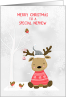 For Nephew Christmas Reindeer with Birds Snow Scene card