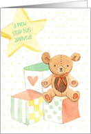 New Baby Congratulations with Blocks, Bear and Star card
