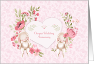 Wedding Anniversary Congratulations with Bunnies and Flowers card