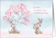 Grandson Valentines Day with Bunnies & Tree with Hearts card