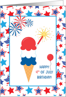 July 4th Holiday Birthday with Ice Cream Cone & Stars card