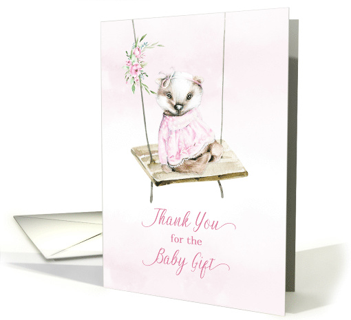 Thank You for Baby Gift Girl Badger on Wooden Swing card (1628492)