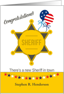 Congratulations Becoming Sheriff Badge and Patriotic Balloons card