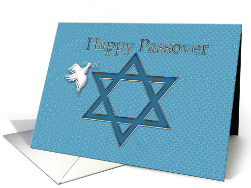 Happy Passover Star of David with White Dove card (182311)