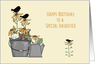 Daughter Birthday Prim Birds and Sunflowers card