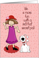 Red Hat Secret Pal with Dog card
