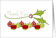 Holly, Ornaments Christmas Thank You card