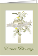 Easter Blessings, Lilies, Cross, Hearts card