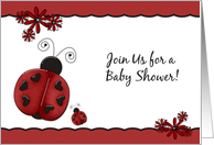 Red Lady Bugs Baby Shower Invitation card